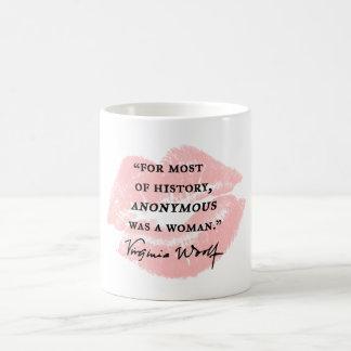 匿名女性の~のヴァージニアWoolfの引用文はでした コーヒーマグカップ
