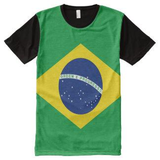 十分のブラジルの旗 オールオーバープリントT シャツ