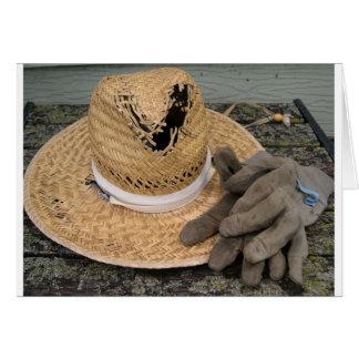 十分使用された庭の帽子および手袋 カード