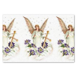 十字およびクレマチスの花との天使 薄葉紙