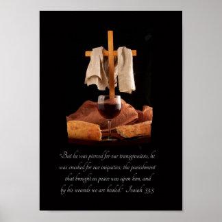 十字および聖餐のアイザイアの53:5の聖なる書物、経典ポスター ポスター