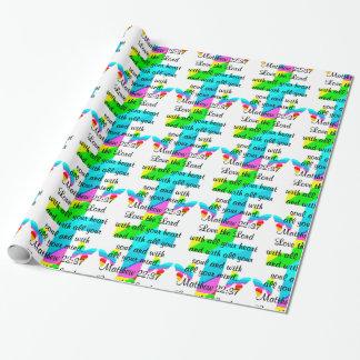 十字および蝶MATTHEWの22:37のデザイン 包装紙