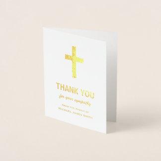 十字との金ゴールドホイルの悔やみや弔慰のサンキューカード 箔カード
