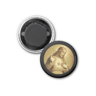 十字との金神聖なハート マグネット