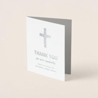 十字との銀ぱくの悔やみや弔慰のサンキューカード 箔カード