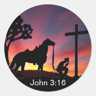 十字のキリスト教のステッカーのジョンの3:16のカウボーイ ラウンドシール