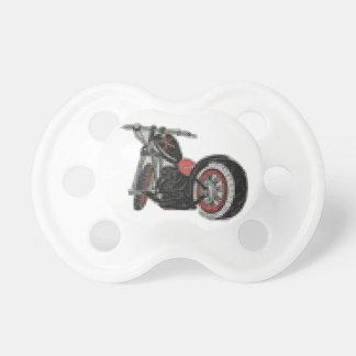十字のステッチのオートバイの刺繍 おしゃぶり