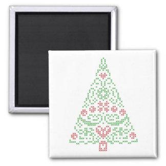 十字のステッチのクリスマスツリーの磁石 マグネット
