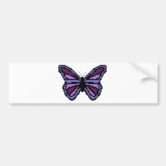 十字のステッチの紫色の蝶 バンパーステッカー