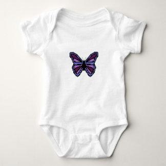 十字のステッチの紫色の蝶 ベビーボディスーツ