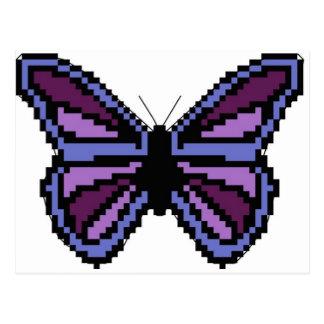 十字のステッチの紫色の蝶 ポストカード