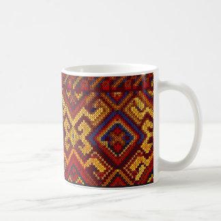 十字のステッチパターンマグ コーヒーマグカップ