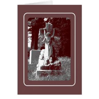 十字の墓石を持つ女の子 カード