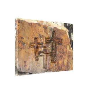 十字の岩石彫刻 キャンバスプリント