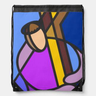 十字の抽象芸術のキリスト ナップサック