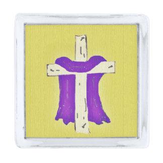 十字の紫色ローブ シルバー ラペルピン