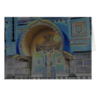 十字の青いイエス・キリスト カード