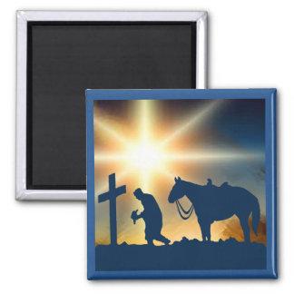 十字の馬を持つカウボーイを祈ること マグネット