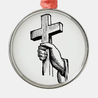 十字を握る手 メタルオーナメント