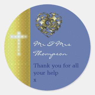 十字を結婚する青および金ゴールドは感謝していしています ラウンドシール