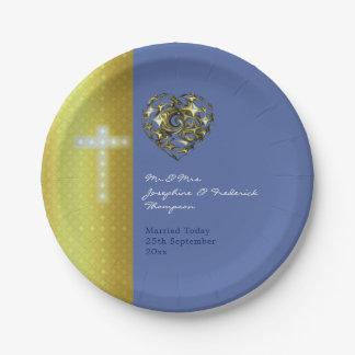 十字を結婚する青および金ゴールド ペーパープレート