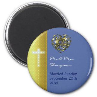 十字を結婚する青および金ゴールド マグネット