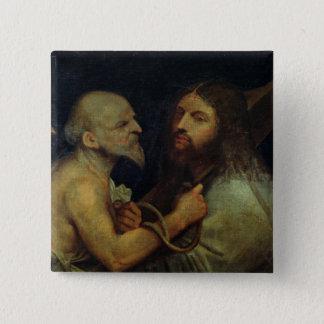 十字を運んでいるキリスト 5.1CM 正方形バッジ