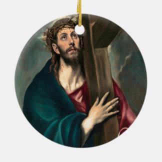 十字を運んでいるEl Grecoキリスト セラミックオーナメント