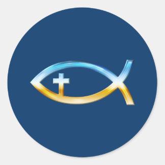 十字架像とのキリスト教の魚の記号-空及び地面 ラウンドシール