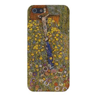 十字架像-グスタフのクリムトが付いている農場の庭 iPhone 5 ケース