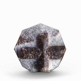 十字石、完全な水晶交差 表彰盾