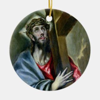 十字1600-10年を握りしめているキリスト(キャンバスの油) セラミックオーナメント
