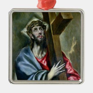 十字1600-10年を握りしめているキリスト(キャンバスの油) メタルオーナメント