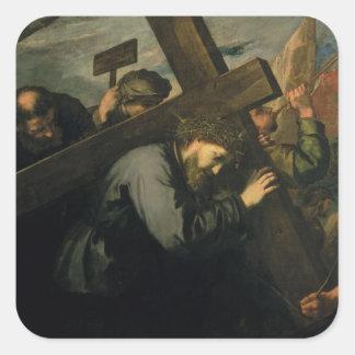 十字1635年を運んでいるキリスト スクエアシール