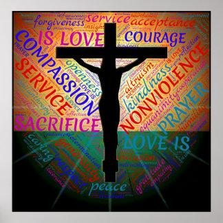 十字、非暴力、受諾ポスターのイエス・キリスト ポスター