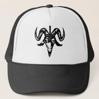 十字(黒)が付いている悪魔的なヤギの頭部 キャップ