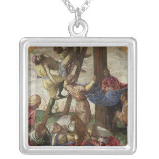 十字、c.1560-65からの降下 シルバープレートネックレス