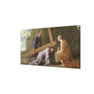 十字、c.1651を運んでいるキリスト キャンバスプリント