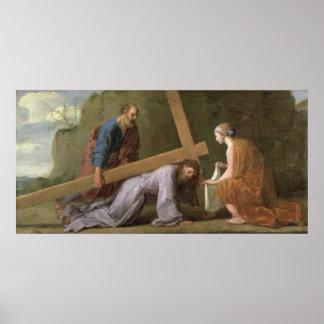 十字、c.1651を運んでいるキリスト ポスター