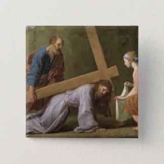 十字、c.1651を運んでいるキリスト 5.1cm 正方形バッジ