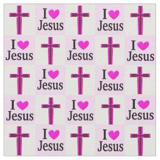十字I愛イエス・キリストのキリスト教のピンクの生地 ファブリック