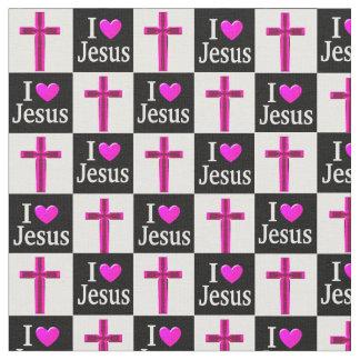 十字I愛イエス・キリストのキリスト教の黒く、ピンクの生地 ファブリック