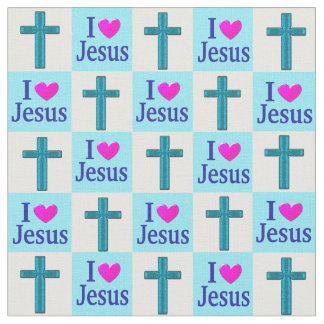 十字I愛イエス・キリストの美しく青い生地 ファブリック
