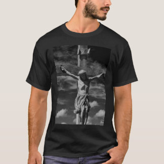 十字tのshirのイエス・キリストの白黒イメージ tシャツ