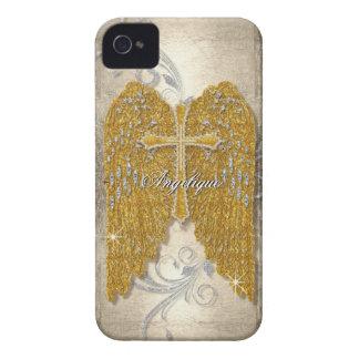 十字wのグリッターのダイヤモンドの宝石の一見の天使は飛びます Case-Mate iPhone 4 ケース