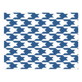 千鳥格子のなパターン1明るいコバルト ポストカード