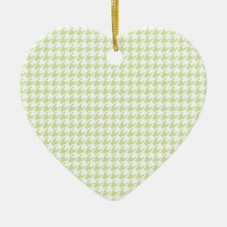 千鳥格子のなパターン-ガーリーな緑 セラミックオーナメント