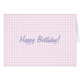 千鳥格子のなパターン-パステル調ピンク カード