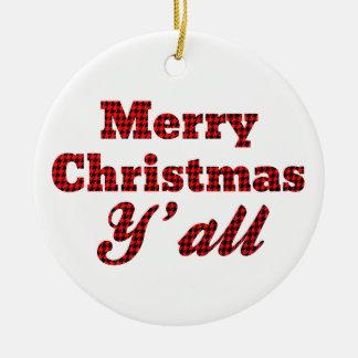 千鳥格子のな南クリスマスの挨拶 セラミックオーナメント