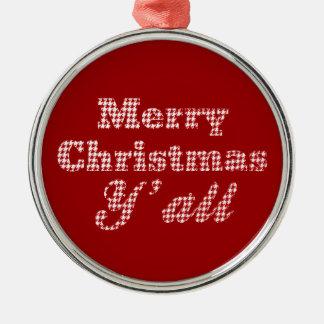 千鳥格子のな南クリスマスの挨拶 メタルオーナメント
